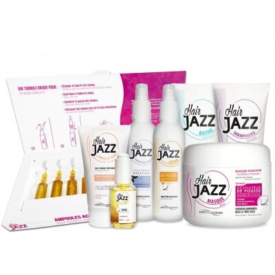 Hair Jazz XXL Set: Sjampo. Baume,  Maske, Lotion, Hårserum, Beskyttelse Mot Varme, Leave-In Hair Cream og Ampuller